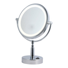 Two-sided+round+vanity+mirror+with+light