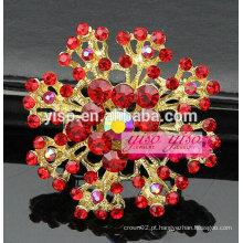 Broche de flor dourada de cristal vermelho banhado a ouro