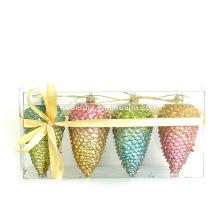 Elegant Glitter Pine Cone, Special Shape Plastic Christmas Ball