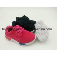 Chaussures d'injection de toile d'unisexe de couleur pure d'enfants, lacent des chaussures de sport avec la semelle extérieure de PVC (FFST-002)