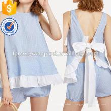 Contraste Ruffle Trim Knot Retour Haut Avec Shorts Fabrication Vêtements En Gros Mode Femmes (TA4089SS)