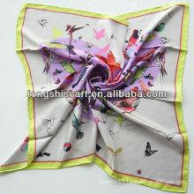 SB080-001 bird print twill silk scarf