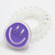 New Kawaii Clear Phone Cord Hair Ties With Smile Face Coil Telephone Cord Hair Rope Ponytail Holder Pigtail Wrap
