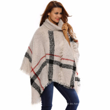 2017 winter premium over stocked fábrica de todo-fósforo de acrílico de punto a cuadros damas suéter poncho