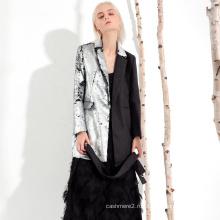 Высокое качество, тонкий стиль, серебряное женское пальто с пайетками