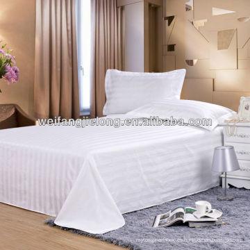 Tela de la raya del satén de T / C los 3cm para el sistema del lecho del hotel
