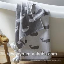venda quente jacquard tubarão jacquard peixe toalha de banho BTT-044