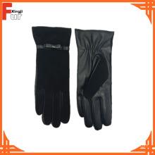Neue Mode schwarze Farbe Damen Lederhandschuhe