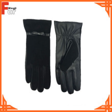 New Fashion Black Color Ladies Leather Gloves