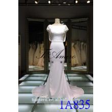 Vestido de casamento de trompete de algodão 2016 Pescoço redondo de volta Cruz aberta Cruzamento de sereia com contas de sereia Long Trailed Dress