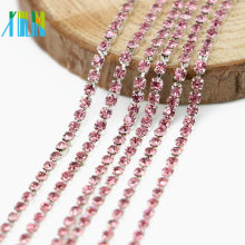 Wholesale DIY Rose Close Cup Crystal Glass Chaton Rhinestone Cup Chain Trim By The Yard, G0205
