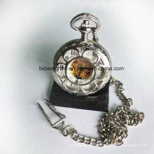 Alliage de montre de poche mécanique squelette en forme de fleur