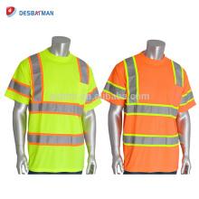 Soem-hallo Sicht Viz Orange Kalk-Sicherheits-industrielle Arbeit T-Shirts Hohe Sichtbarkeit reflektierende Rundhalsausschnitt-Sicherheits-Arbeitskleidung mit Tasche