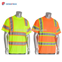 OEM Hi Vis Viz Orange Lime Security Industrial Work Camisetas High Visibility Reflectante Crew Neck Safety Workwear con bolsillo