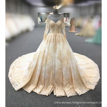 Arabic muslim gold long sleeve wedding dress 2018 latest design WT533