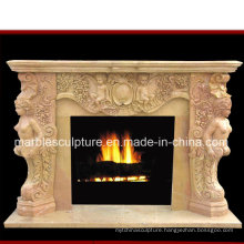 Natural Stone Yellow Marble Fireplace with Figures Carved (SY-MF162)