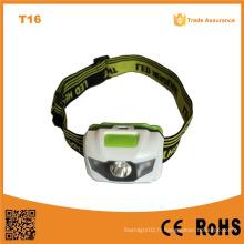 Vert / Orange / Gris T16 Matériau ABS multicolore Haute puissance 1W + 2 LED rouge SMD LED 3xaaa Lampe frontale