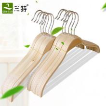 cor natural fina tela pijama de madeira compensada cabide com tiras anti derrapante