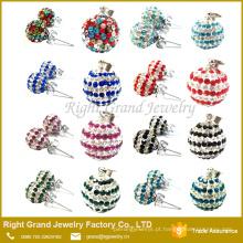 Nova moda colorido cristal pavimentada shamballa Ear Studs pingente encantos