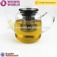 Pot de thé en verre résistant à la chaleur élégant avec le filtre à thé d'acier inoxydable