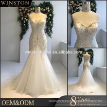 Vestido de casamento de sereia com appliqued de renda de decote de alta qualidade