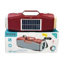 Original WSTER WS1857 Support USB TF CARD FM RADIO Home Speaker Dj Bass Solar Powered Speakers
