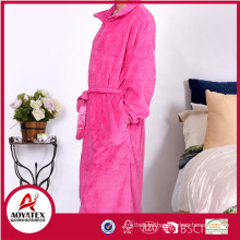 100% polyester embossed coral fleece hotel bathrobe