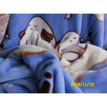 Fluffy Doulbe Printing Polyester Baby Blanket Thick Warming For Picnic