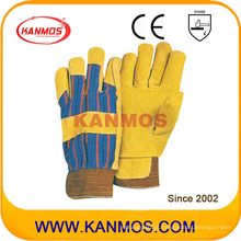 Yellow Pig Split Leather Segurança industrial Luvas de trabalho de inverno (21302)