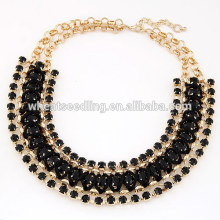Pop exaggerated hand woven gem short black choker necklace