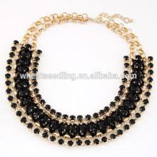 Pop exagerada mão tecido jóia curta preto colar gargantilha