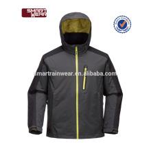 Esporte ao ar livre de alta qualidade preto personalizado impressão logotipo do homem à prova d 'água jaqueta