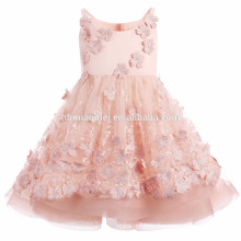 2017 pink color flower girl dress for wedding handmade puffy princess baby girl summer dress