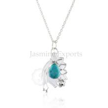 Grossista Fornecedor de turquesa 925 Sterling Silver Necklace