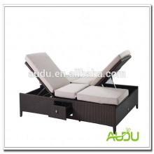 Audu Rattan Double Beach Lounger Chair Adjustable