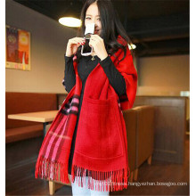 Hot Sale Red Check Fringe Women Wool Pashmina Shawls