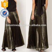 New Fashion Green-gold Metallic Pleated Summer Mini Daily Skirt DEM/DOM Manufacture Wholesale Fashion Women Apparel (TA5093S)