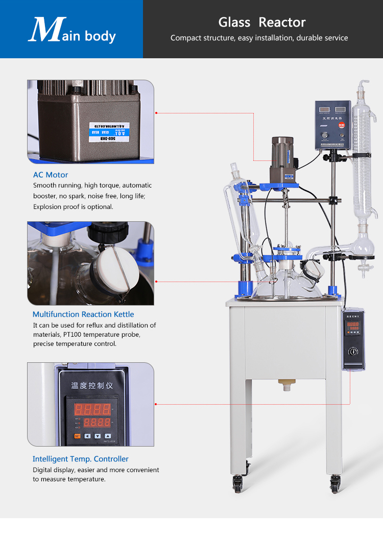 Single Layer Fractional Distillation Glass Reactor Kettle