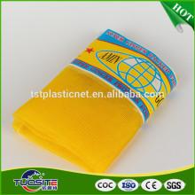 Saco da rede do monofilamento do gengibre do HDPE / saco amarelos da malha do leno para o gengibre