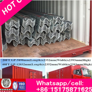 Steel Anti-Collision Waveform Guardrail for W Beam Used for Highway, Flexible Hot DIP Galvanized Guardrails