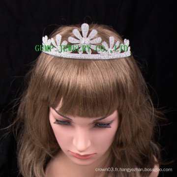 Belle fleur Design Crown Women Tiara de cristal