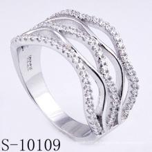Novo design micro pave 925 anel de prata zircônia mulheres (s-10109)
