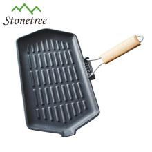 Poêle à frire en fonte finie à la cire de vente chaude avec poignée amovible