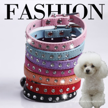 Doglemi Leather Dog Collar Diamante One Row Crystal Rhinestone pet collar