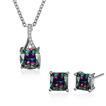 Modeschmuck Sets Bunte quadratische Zirkon Halskette Ohrringe Platinum überzogen
