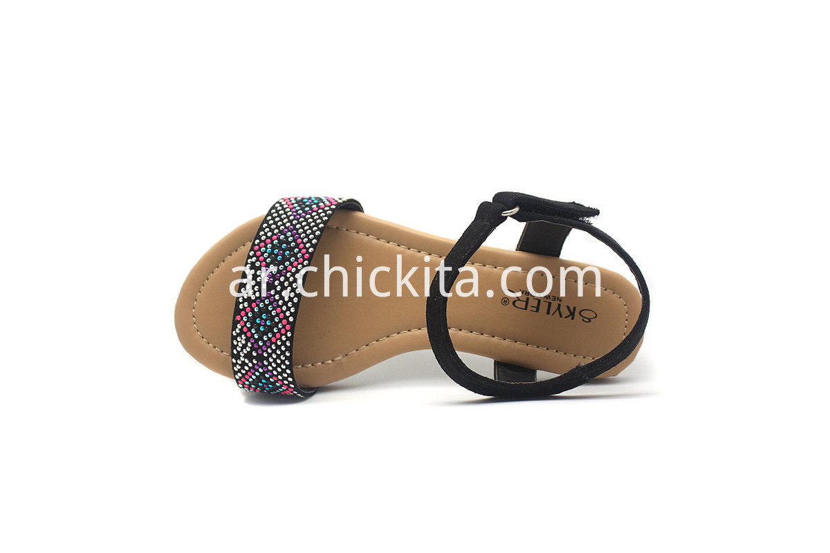 Flat Fashion Girls Sandals Shoes with colored rhinestones