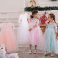 2017 new arrival colorful baby girl performance dress middle sleeve lace ball gown girl party wear western dress wholesale