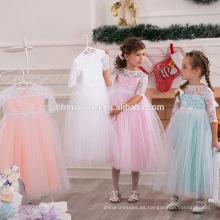 2017 recién llegado de colores bebé vestido de rendimiento vestido de media manga de encaje vestido de fiesta de la muchacha occidental vestido al por mayor
