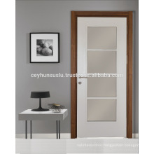 Pvc Folding Interior Glazed Door with White Leaf, Wooden Frame and Jamb