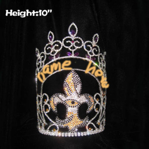 Wholesale 10in Height Custom Fleur De Lis Pageant Crowns